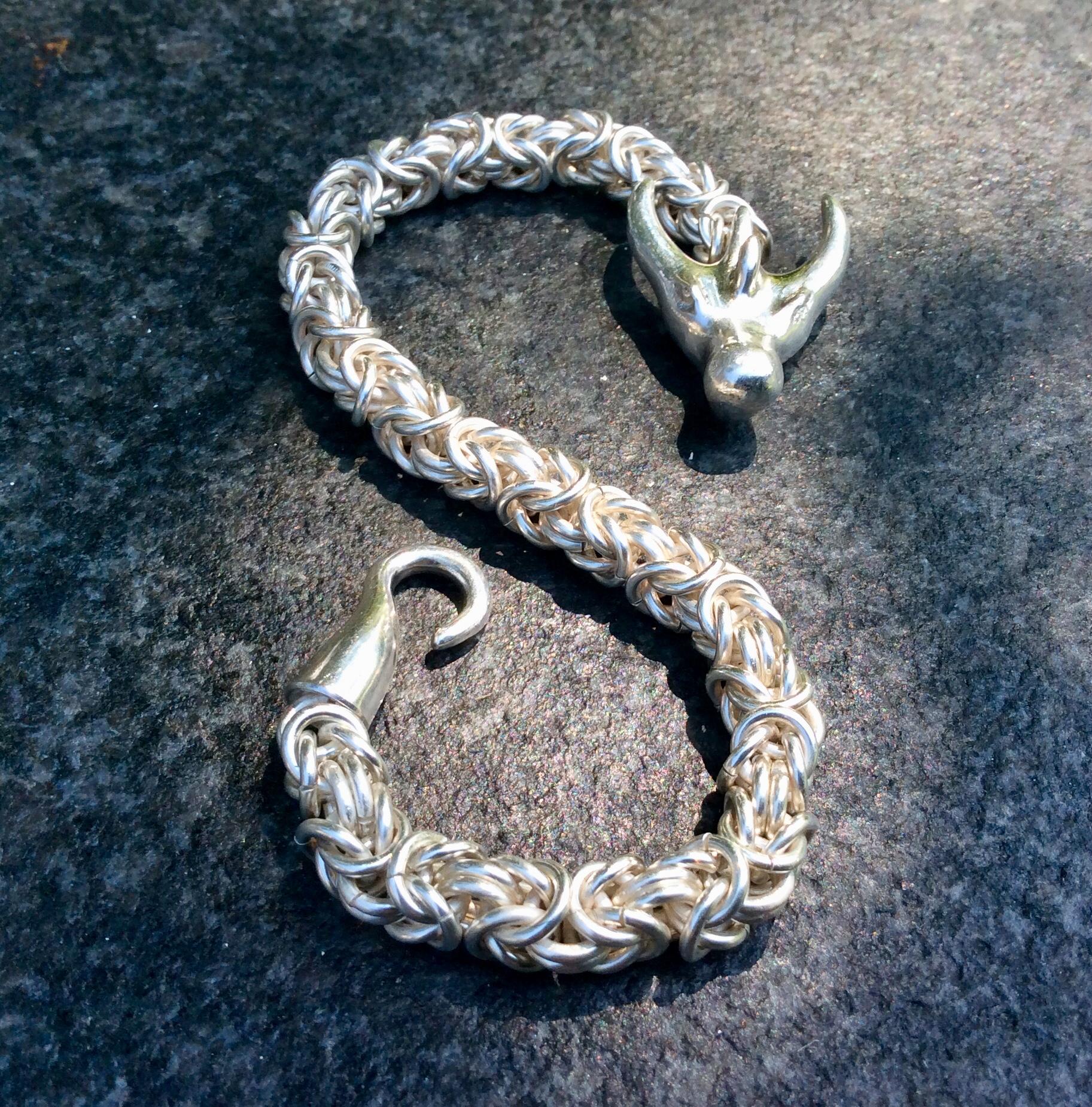 DRACHEN KRAFT ARMBAND , Königskette , Silber 925/ooo .